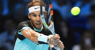 Rafael Nadal hits a backhand on his way to a 6-4, 6-1 victory over Andy Murray at the ATP World Tour Finals in London on Nov. 18, 2015. Nadal has won his first two matches in the group stage, while Murray fell to 1-1. (Kyodo) ==Kyodo